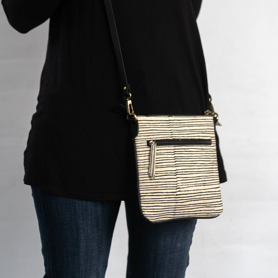 Printed Crossbody in Black Pinstripe Print