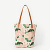 Prisha Blissful Blossom Leather Handles Cotton Tote Bag