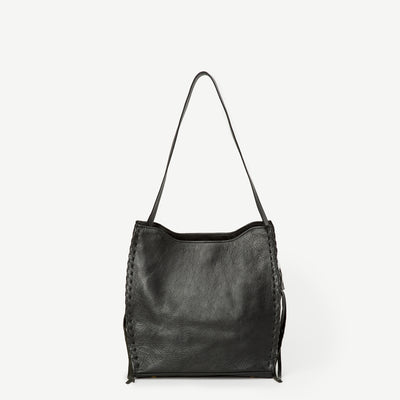 Rekha Black Leather Bucket Bag