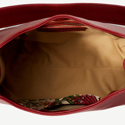 Rekha Holiday Flowers Red Leather Bucket Bag