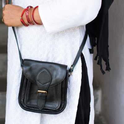 Mini Myra Black Leather Crossbody