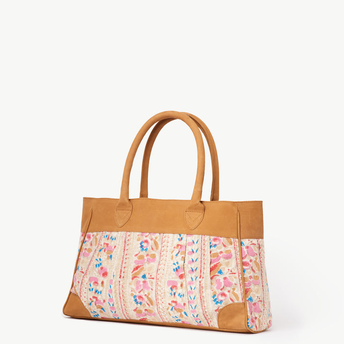 Anna Painted Floral Camel Leather Handbag