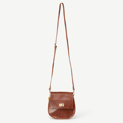 Sering Brown Leather Crossbody Satchel