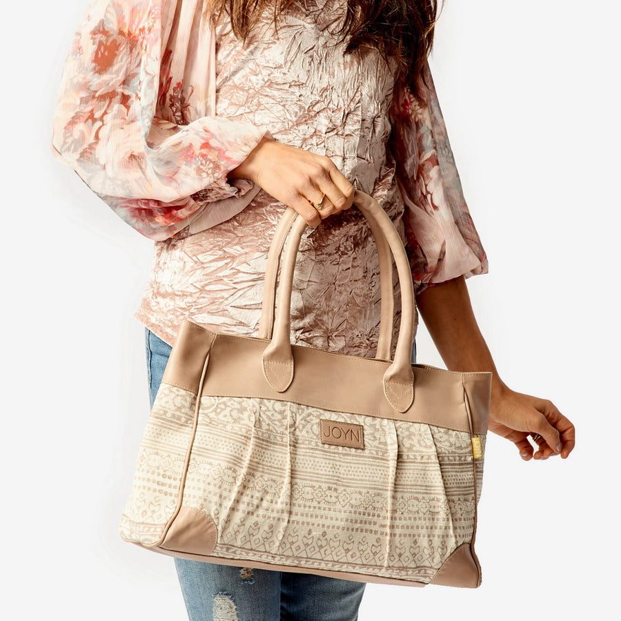 Anna Tribal Taupe Leather Handbag