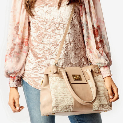 Suneli Tribal Taupe Leather Handbag