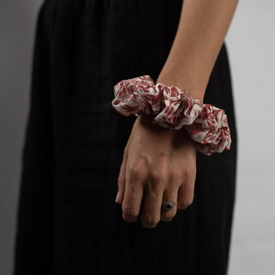 Large Silk Scrunchie in Berry Floral