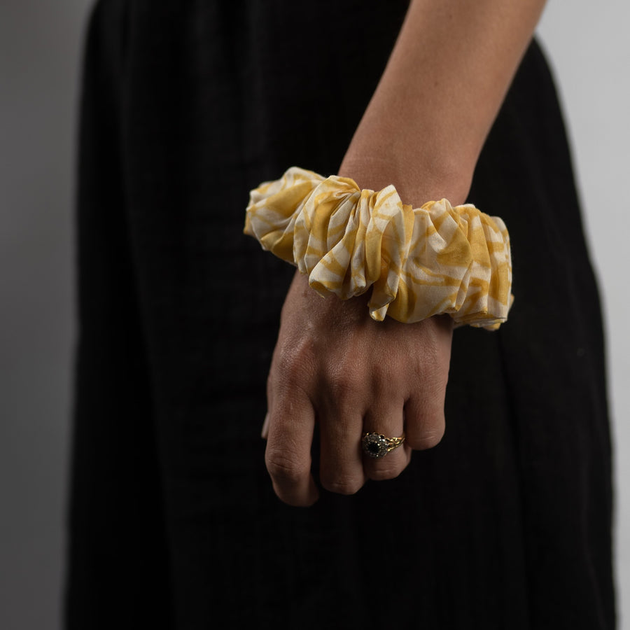 Large Silk Scrunchie in Golden Haveli