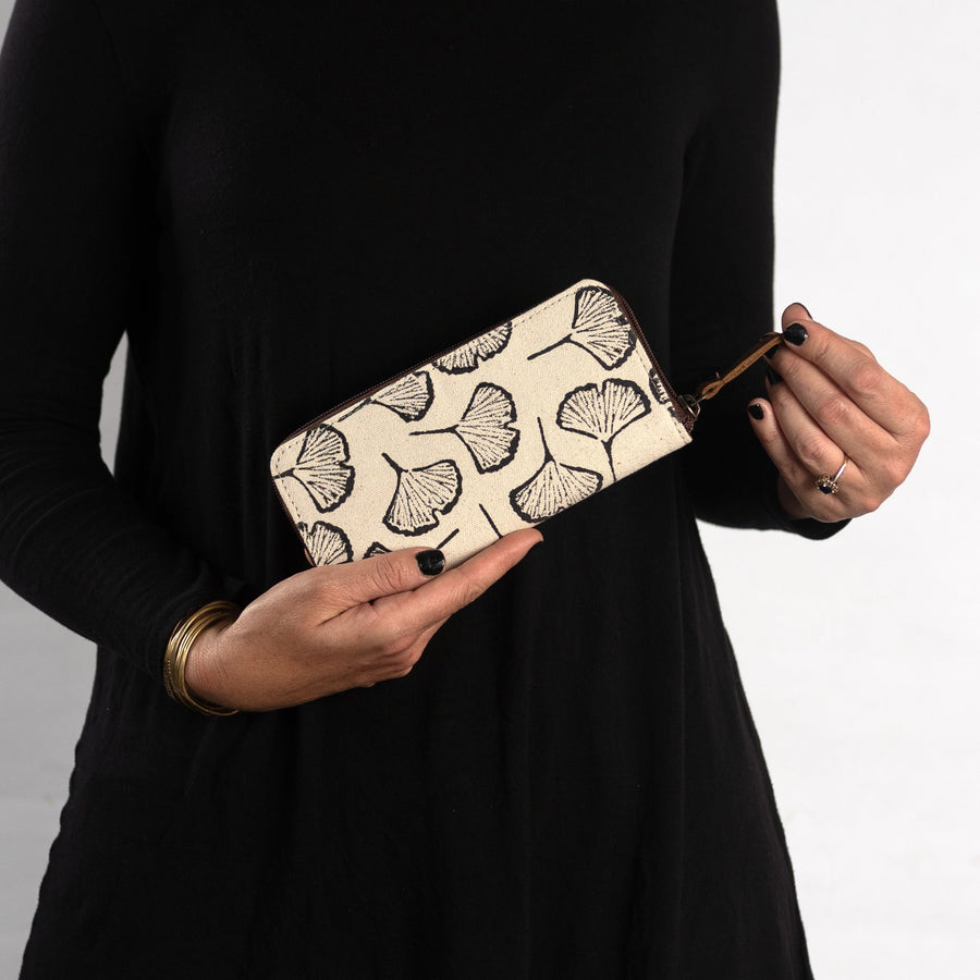 Fabric Structured wallet in Black Gingko Print