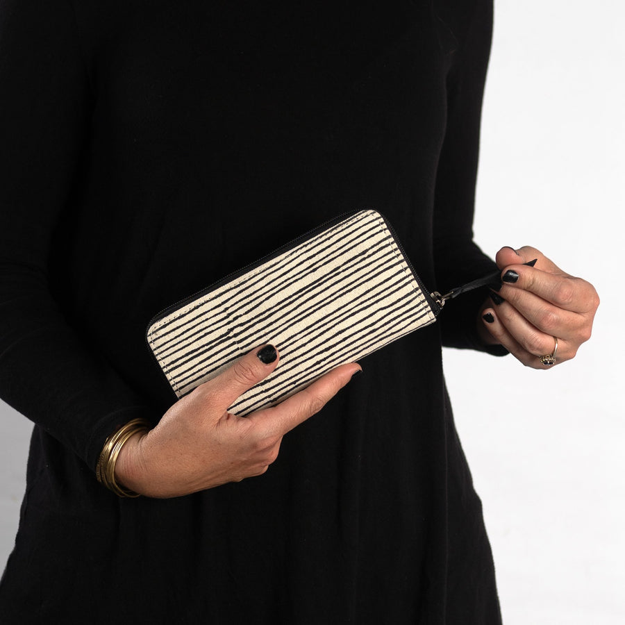 Fabric Structured wallet in Black Pinstripe Print