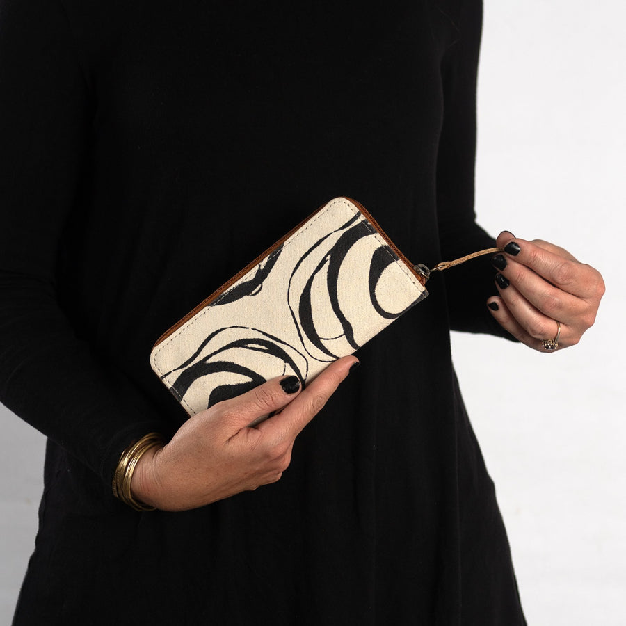 Fabric Structured wallet in Black Rose Print