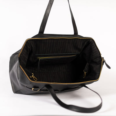 3-in-1 Weekender in Black Leather