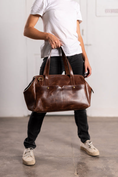 3-in-1 Weekender in Brown Leather