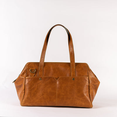 3-in-1 Weekender in Camel Leather