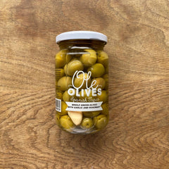 Whole Green Olives with Garlic & Rosemary. Ole Olives
