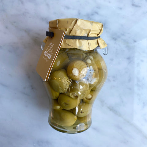 Garlic stuffed Gordal Olives in amphora