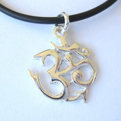 Traditional Medium Silver Om Pendant