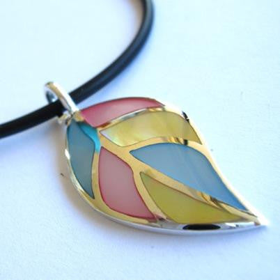 Mother Of Pearl Leaf Pendant