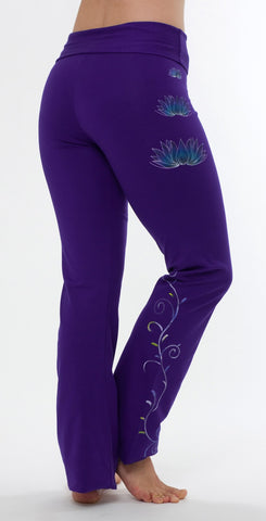 Yogamasti - Lotus Yoga Pants Hand Painted Purple - Yoga Studio - 1