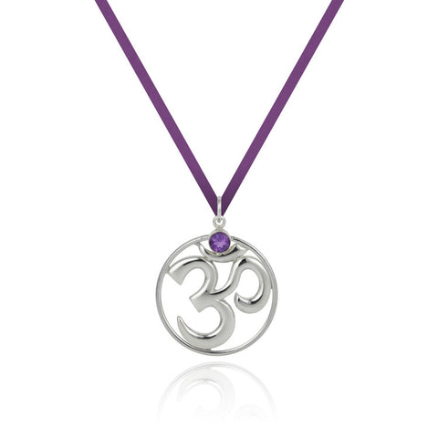 Shanti Large India Om Pendant With Wire - Amethyst