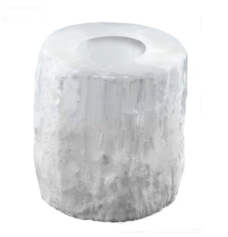 White Natural Tea Light Selenite Candle Holder - Yoga Studio