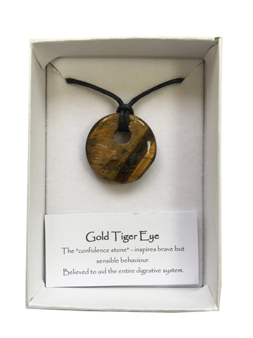 Gemstone Donut Pendant - Gold Tiger Eye - Yoga Studio