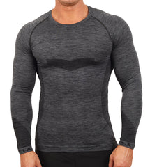 Ki5-A Pierre Men's Long Sleeve Charcoal Marl Top
