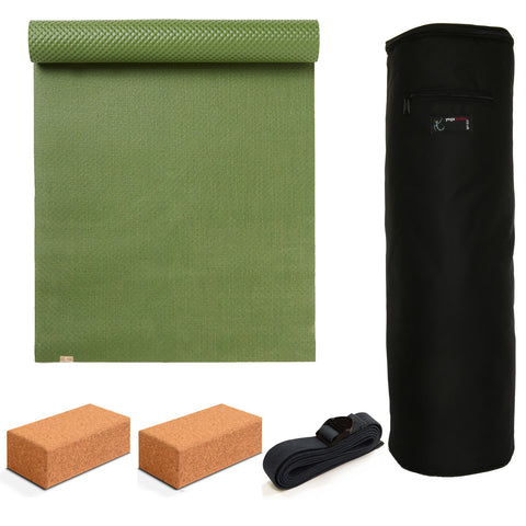 Yoga Studio EcoYoga Starter Kit - Mat-Cork Bricks-Strap & Bag