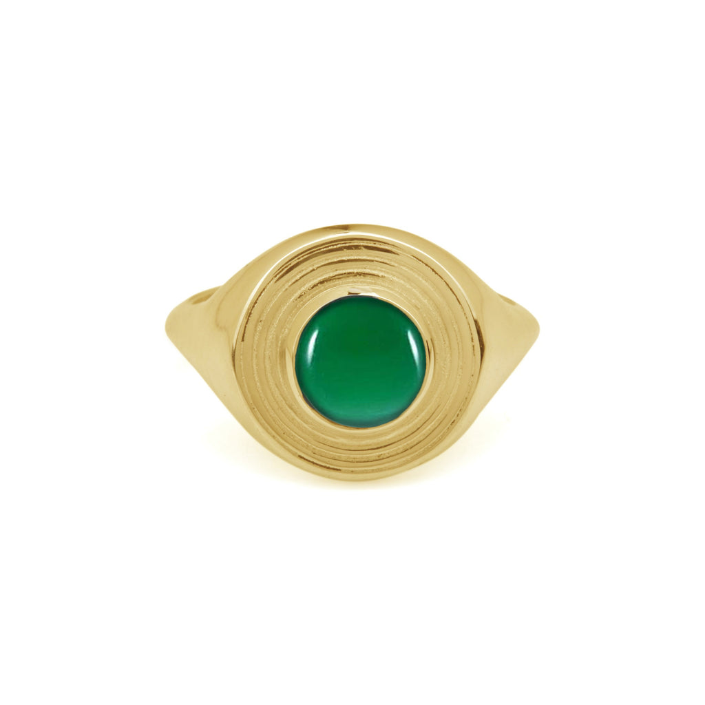 Solid Gold Astral Signet Ring with Green Onyx