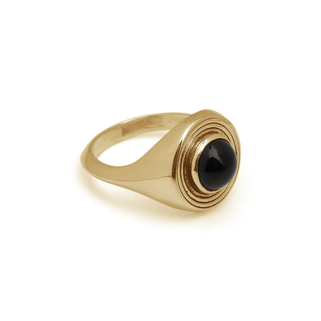 Astral Signet Ring Gold - Black Onyx