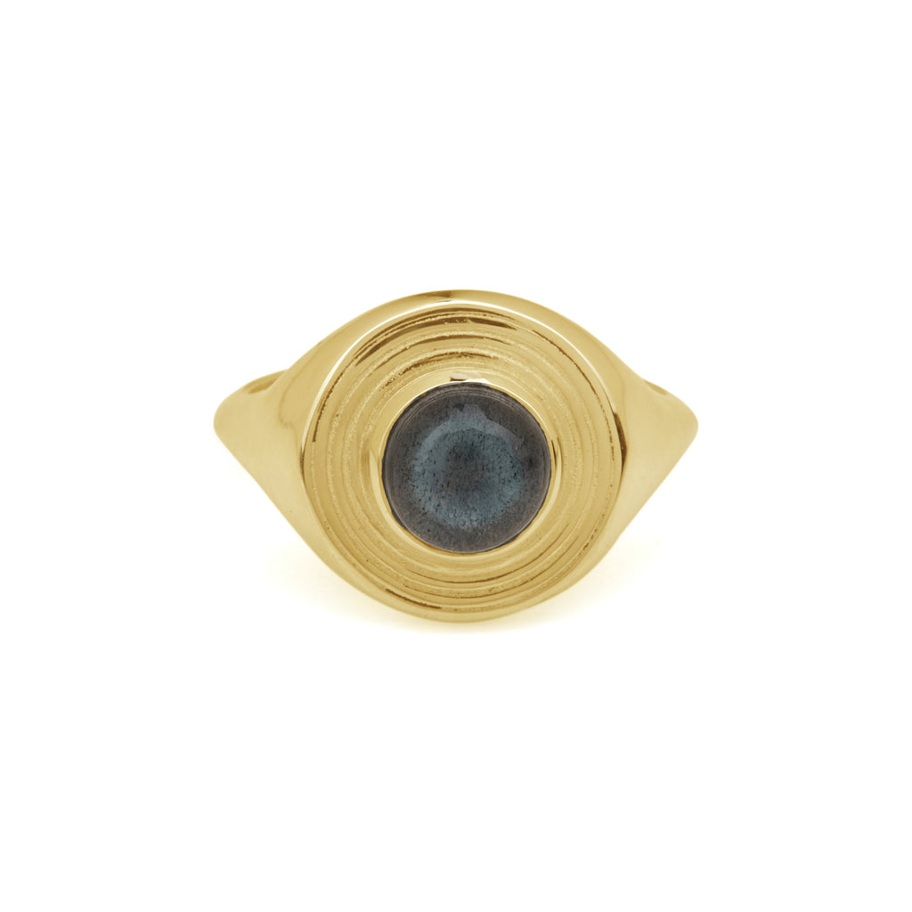 Astral Signet Ring Gold - Labradorite