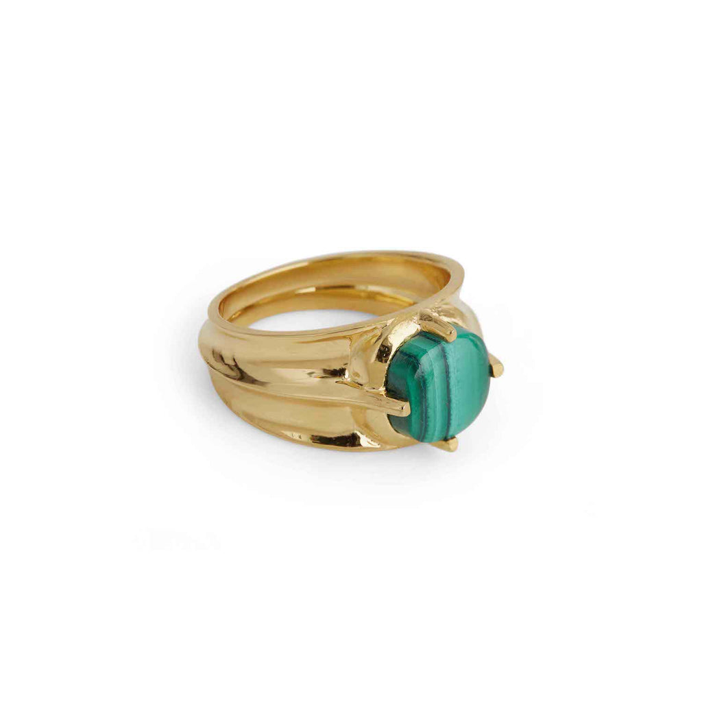 Athena Malachite Ring Gold