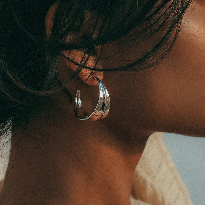 Athena Hoop Earrings Silver