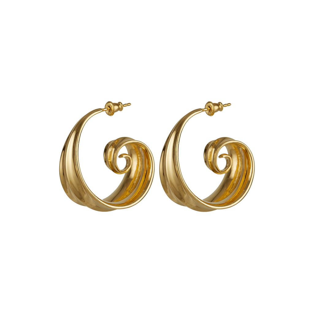 Athena Spiral Hoop Earrings Gold