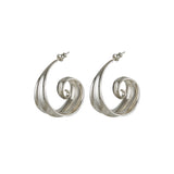 Athena Spiral Hoop Earrings Silver