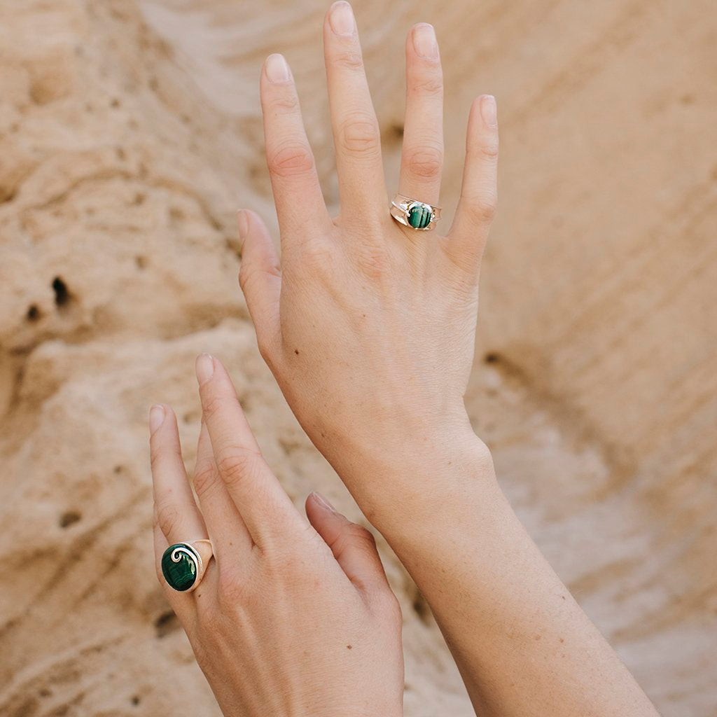 Athena Malachite Ring Silver