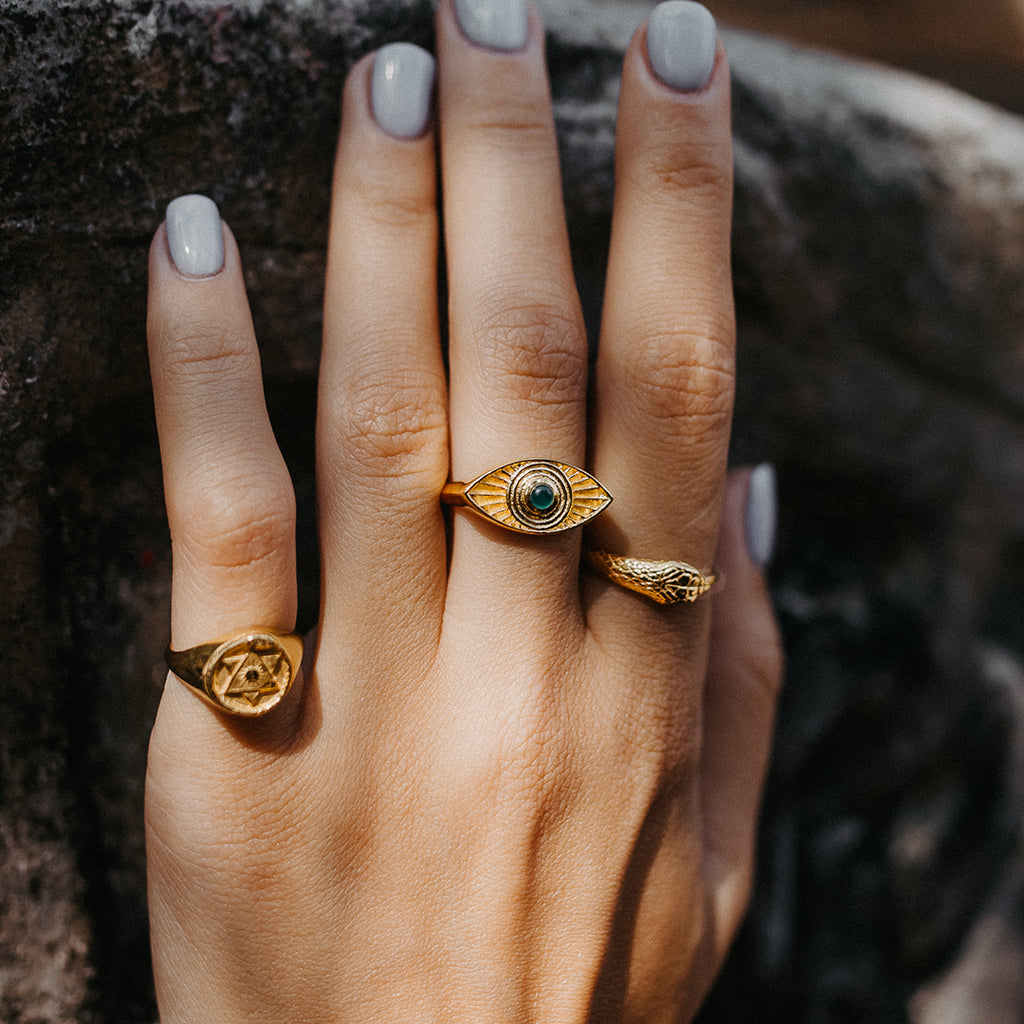Ouroboros Snake Ring Gold