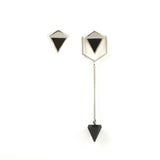 Icosa Asymmetric Earrings Silver