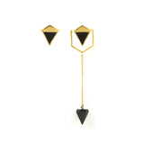 Icosa Asymmetric Earrings Gold