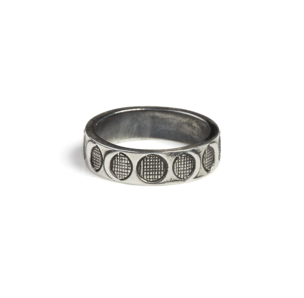 Moon Phases Band Ring Silver