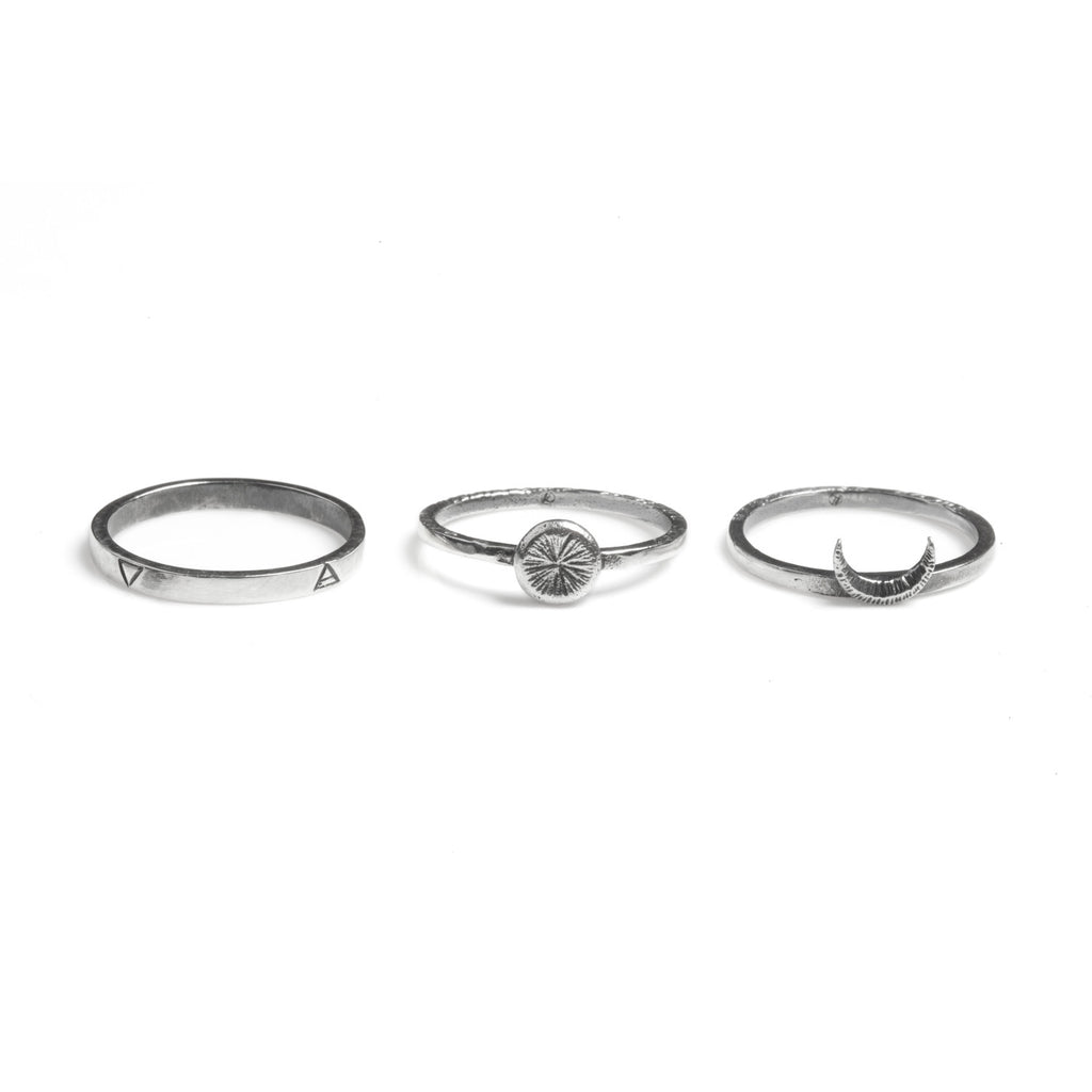 Sun Moon Four Elements Rings Set Silver