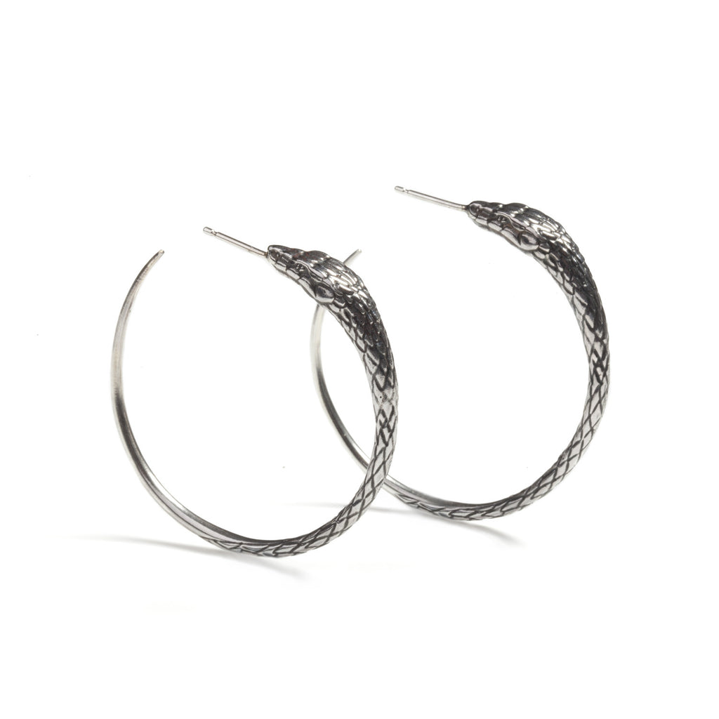 Ouroboros Snake Large Hoops Silver