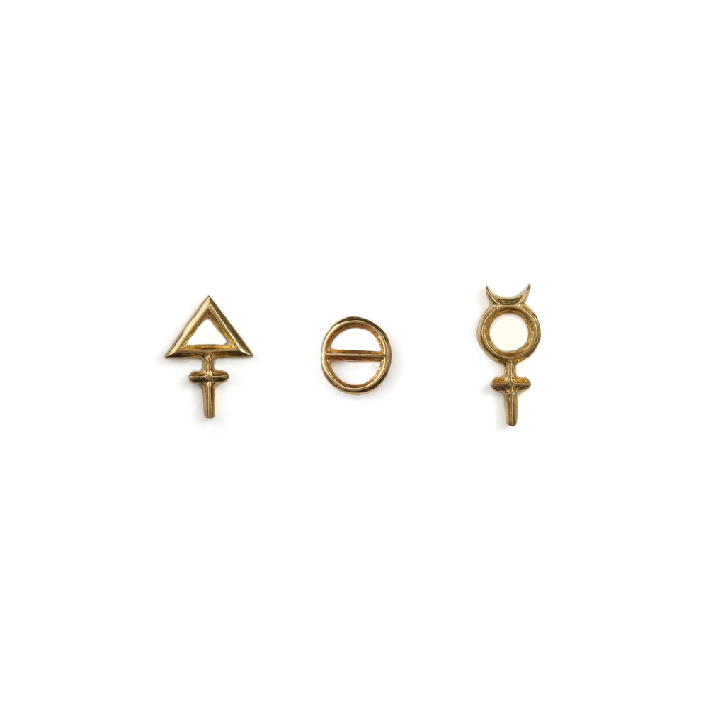 Tria Prima Stud Earrings Gold Man