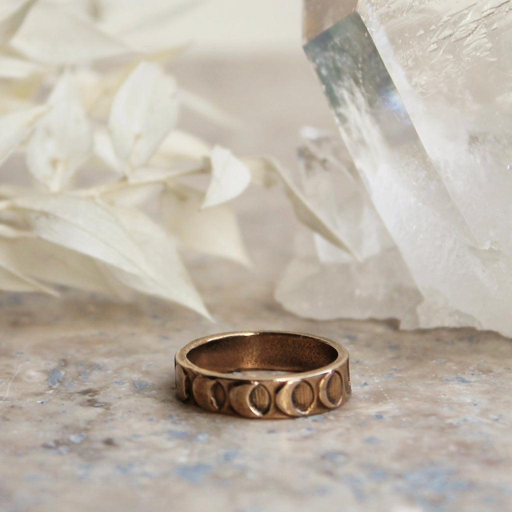 SALE - Moon Phases Band Ring Bronze