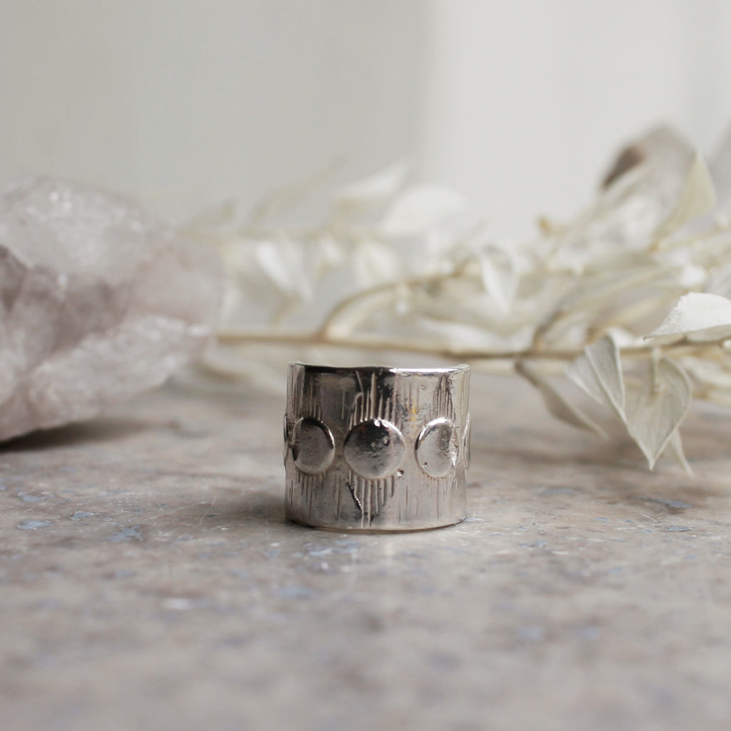 SALE - Moon Phases Large Ring Silver