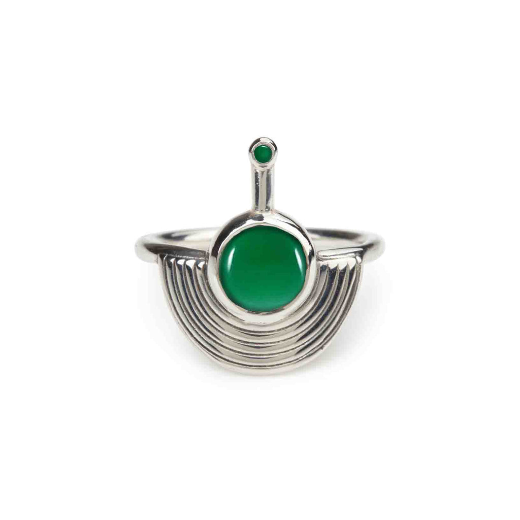 Interstellar Ring Silver - Green Onyx