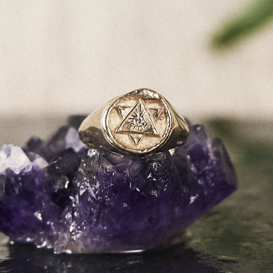 Solid Gold Ouroboros Signet Ring with Diamond