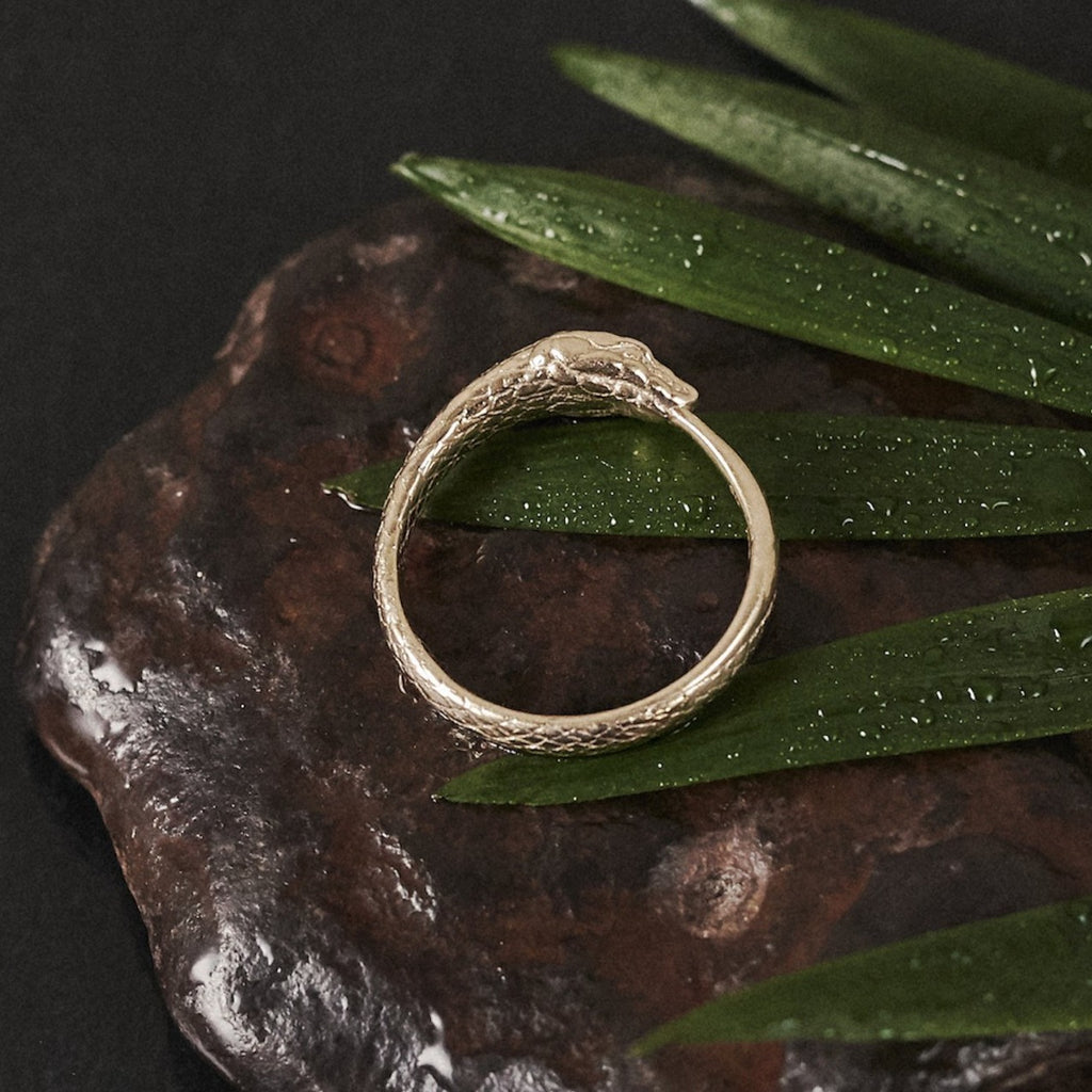 Solid Gold Ouroboros Snake Ring