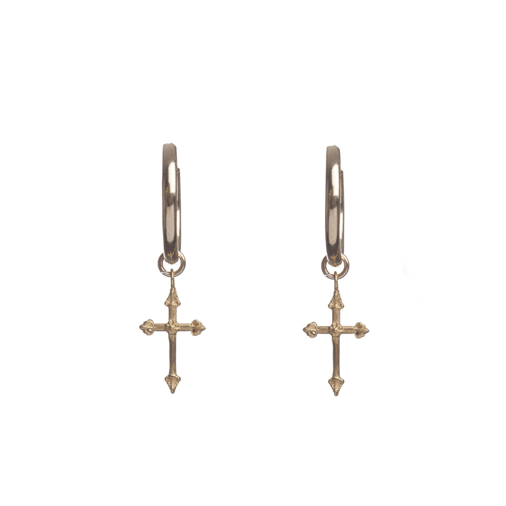 Cross Hoop Earrings Gold