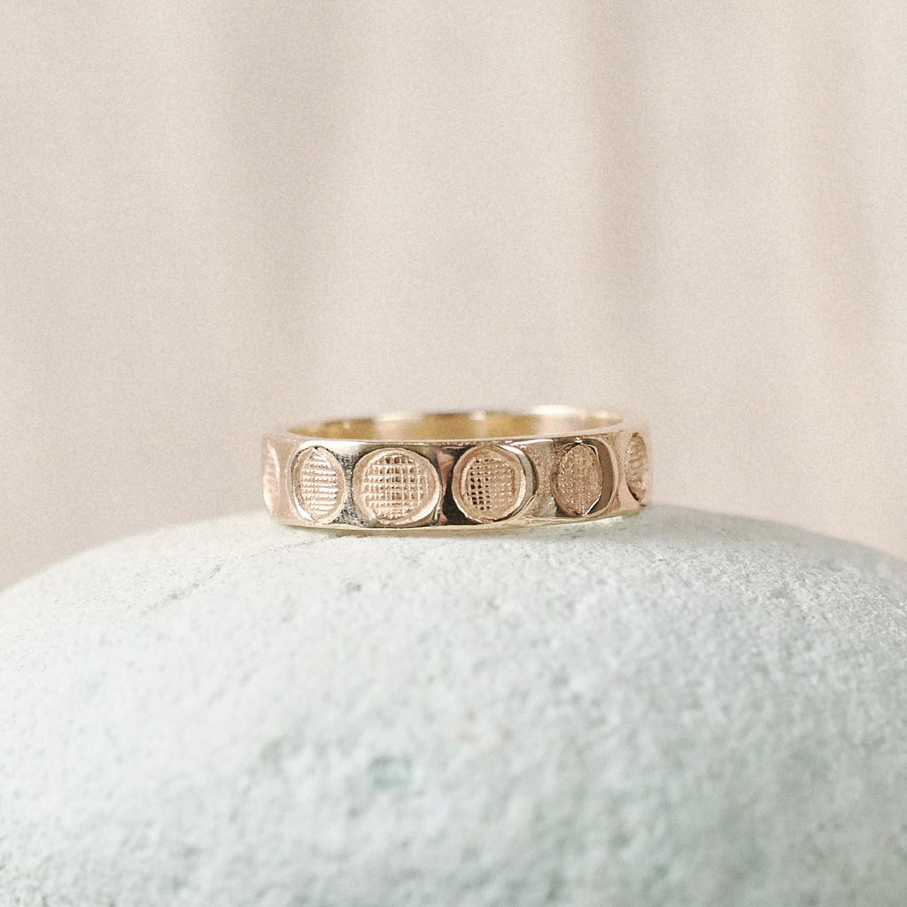 Solid Gold Moon Phases Band Ring