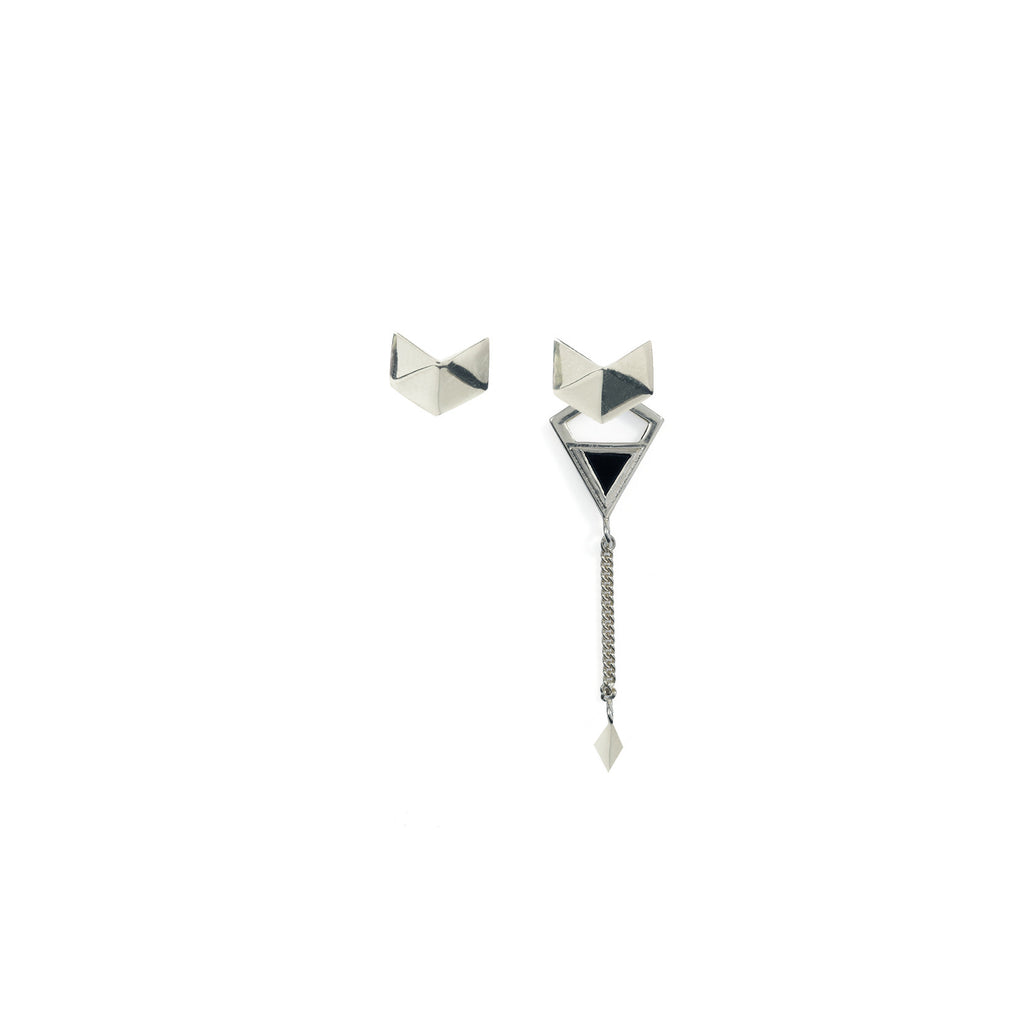 Octa Asymmetric Earrings Silver